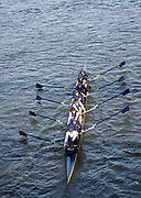 Putney, London, Varsity, 5th April 2019,  OUBC Blue Boat's, pass through Hammersmith Bridge, Oxford/Cambridge Media week, Championship Course,<br /> [Mandatory Credit: Karon PHILLIPS], Friday  05/04/2019,