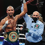 HOLLYWOOD, FL - APRIL 17: Carlos Gongora  retains the IBO belt against Christopher Pearson during the IBO World Super Middleweight title fight at Seminole Hard Rock Hotel & Casino on April 17, 2021 in Hollywood, Florida. (Photo by Alex Menendez/Getty Images) *** Local Caption *** Carlos Gongora; Christopher Pearson