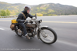 Paul Jung of Germany riding the 1915 Harley-Davidson entry from W and W Cycles of Wurzburg up Wolf Creek pass during the Motorcycle Cannonball Race of the Century. Stage-10 ride from Pueblo, CO to Durango, CO. USA. Tuesday September 20, 2016. Photography ©2016 Michael Lichter.