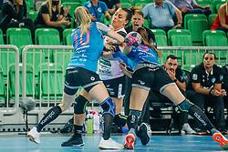 Matea Pletikosić and Ema Abina of Slovenia during handball match between RK Krim Mercator (SLO) and Vipers Kristiansand (NOR), on September 12, 2020 in Arena Stožice, Ljubljana, Slovenia. Photo by Sinisa Kanizaj / Sportida