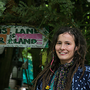 """Petra has been involved in solidarity movements for years and has recently moved into the Save Leith Hill protectors camp. """"Fracking is a massive tragedy to nature and  am planning to stay as long as it takes to stop this."""" ( The technique used to extract the oil is very similar to fracking.) Europa Oil and Gas company has got license to drill for oil in the woods near Leith Hill.  Proetctors of the land, a group of local campaigners against the proposed drilling and activists have set up a community camp on Coldharbour Lane to  protect Leith Hill from the unconventional oil exploration, through monitoring, awareness raising, and peaceful community action."""