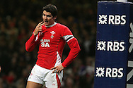 James Hook of Wales reacts after his early missed pass gifts France the opening score. RBS Six nations, Wales v France at the Millennium Stadium in Cardiff on Friday 26th Feb 2010. pic by  Andrew Orchard , Andrew Orchard sports photography,