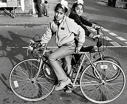 Sikh boys on bikes UK 1985