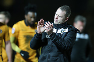 Michael Flynn , the Newport County caretaker manager looks on at the end of the game. EFL Skybet football league two match, Newport county v Luton Town at Rodney Parade in Newport, South Wales on Tuesday 21st March 2017.<br /> pic by Andrew Orchard,  Andrew Orchard sports photography.