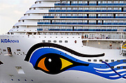 Nederland, The Netherlands, Eemshaven, 14-10-2018Het cruiseschip de AIDA Nova wordt hiet door het duitse bedrijf de werf, scheepswerf Meyer Werft in Papenburg, Duitsland afgebouwd en getest.de AIDAnova is het eerste cruiseschip dat volledig op vloeibaar gas ,LNG, vaart.
