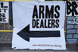 A Campaign Against The Arms Trade (CAAT) banner is pictured during Stop The Arms Fair protests outside ExCeL London as preparations for the DSEI 2021 arms fair continue on 8th September 2021 in London, United Kingdom. The third day of week-long Stop The Arms Fair protests outside the venue for one of the world's largest arms fairs was themed around demilitarising education.