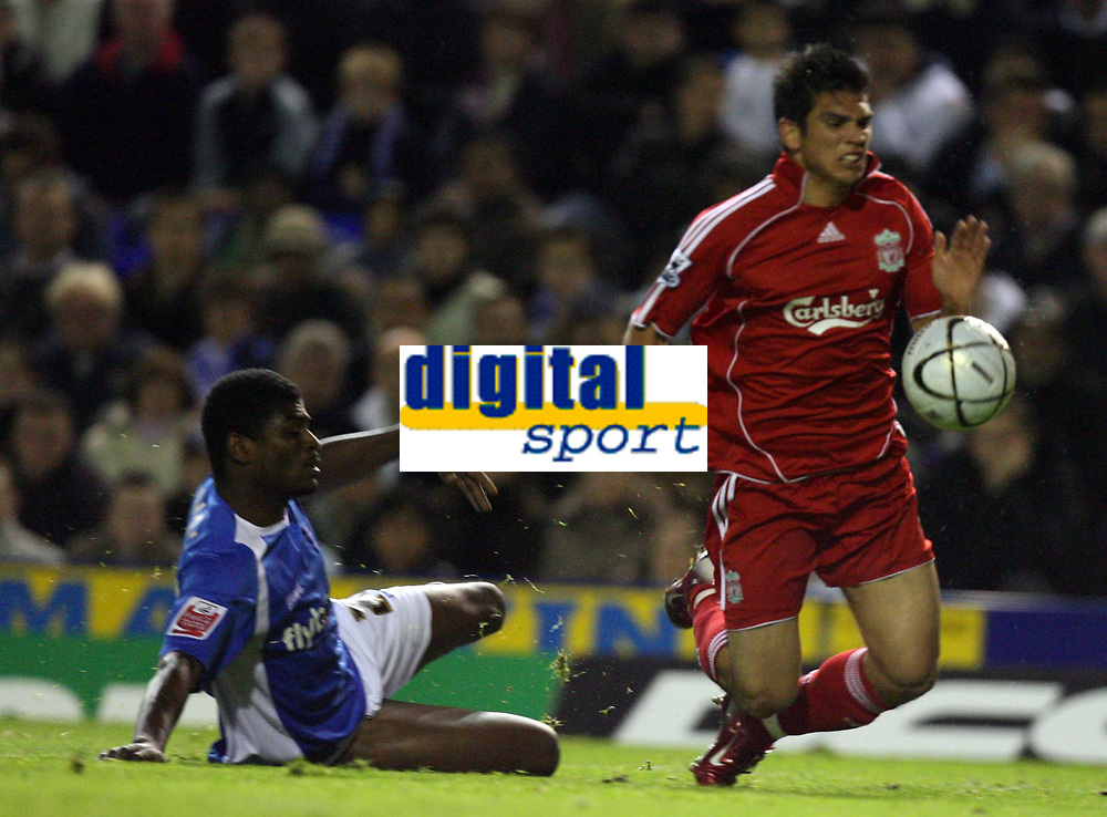 Photo: Rich Eaton.<br /> <br /> Birmingham City v Liverpool. Carling Cup. 08/11/2006. Radhi Jaidi left of Birmingham fouls Liverpols Mark Gonzeleze to give Liverpool a penalty which Craig Bellamy missed