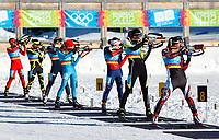 Skiskyting<br /> Seefeld Østerrike<br /> YOG 2012<br /> 16.01.2012<br /> Foto: Gepa/Digitalsport<br /> NORWAY ONLY<br /> <br /> YOG2012, Olympische Jugend-Winterspiele Innsbruck, 7,5km Verfolgung der Damen. <br /> <br /> Bild zeigt Na Song (CHN), Lea Ducordeau (FRA), Kristin Sandeggen (NOR), Yuliya Zhuravok (UKR), Anna Kubek (USA), Julia Reisinger (AUT) und Danielle Vrielink (CAN).