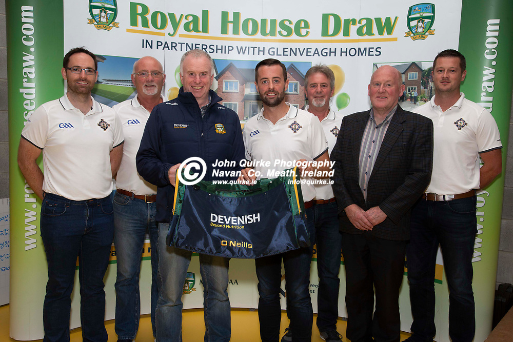 29/08/2019, Meath County Chairperson, Peter O`Halloran  presents a kit bag to the 2019 All Ireland Final Referee and Umpires.<br /> L-R, Dean Gough (Umpire), Terry Gough (Umpire), Martin O`Halloran (Meath County Chairperson), David Gough (Referee), Eugene Gough- David`s Dad), Frank Gallogly (Referee Administrator) & Stephen Gough (Davids Brother)<br /> <br /> Photo: David Mullen / www.quirke.ie ©John Quirke Photography, Unit 17, Blackcastle Shopping Cte. Navan. Co. Meath. 046-9079044 / 087-2579454.<br /> ISO: 400; Shutter: 1/200; Aperture: 6.3; <br /> File Size: 2.3MB