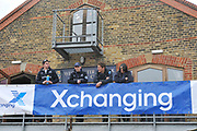 Putney, London,  Oxford Base, Westminster School balcony before the afternoons race, left to right Ben MYERS, Coach Sean BOWDEN and 2010 President,  Sjoerd HAMBURGER. 156th University Boat Race  over  the Championship Course,  Putney to Mortlake. on Saturday  03/04/2010 [Mandatory Credit Peter Spurrier/ Intersport Images]