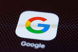 Google app close up on iPhone smart phone screen