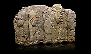 Hittite monumental relief sculpted orthostat stone panel of a Procession. Limestone, Karkamıs, (Kargamıs), Carchemish (Karkemish), 900 - 700 B.C. Anatolian Civilisations Museum, Ankara, Turkey.<br /> <br /> It is a depiction of three marching female figures in long dress with a high headdress (photos) at their head. These women are considered to be the nuns of the Goddess Kubaba. The figure in the front has a small animal in her right hand while the figure in the middle has a glass in his right hand. The object which the figures carry in their left is not understood.  <br /> <br /> Against a black background. .<br />  <br /> If you prefer to buy from our ALAMY STOCK LIBRARY page at https://www.alamy.com/portfolio/paul-williams-funkystock/hittite-art-antiquities.html  - Type  Karkamıs in LOWER SEARCH WITHIN GALLERY box. Refine search by adding background colour, place, museum etc.<br /> <br /> Visit our HITTITE PHOTO COLLECTIONS for more photos to download or buy as wall art prints https://funkystock.photoshelter.com/gallery-collection/The-Hittites-Art-Artefacts-Antiquities-Historic-Sites-Pictures-Images-of/C0000NUBSMhSc3Oo