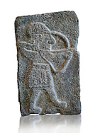9th century BC stone Neo-Hittite/ Aramaean Orthostats from Palace Temple of the Aramaean city of Tell Halaf, ancient Guzana, in northeastern Syria close to the Turkish border. The Orthostats from the Palace of King Kapara are in a Neo Hittite style and depict an Archer. Louvre Museum, Paris, inv AO11072 If you prefer to buy from our ALAMY STOCK LIBRARY page at https://www.alamy.com/portfolio/paul-williams-funkystock/hittite-art-antiquities.html  - Type -    Louvre   - into the LOWER SEARCH WITHIN GALLERY box. Refine search by adding background colour, place, museum etc<br /> <br /> Visit our HITTITE PHOTO COLLECTIONS for more photos to download or buy as wall art prints https://funkystock.photoshelter.com/gallery-collection/The-Hittites-Art-Artefacts-Antiquities-Historic-Sites-Pictures-Images-of/C0000NUBSMhSc3Oo