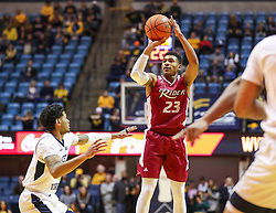 Nov 28, 2018; Morgantown, WV, USA; Rider Broncs guard Stevie Jordan (23) shoots a three pointer during the first half against the West Virginia Mountaineers at WVU Coliseum. Mandatory Credit: Ben Queen-USA TODAY Sports