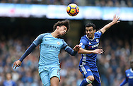 Leroy Sane of Manchester City and Pedro of Chelsea during the Premier League match at the Etihad Stadium, Manchester. Picture date: December 3rd, 2016. Pic Simon Bellis/Sportimage