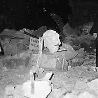 The granite head from the Statue of Horatio Lord Nelson. Nelson's Pillar on O'Connell Street was destroyed by explosives on March 8, 1966. (Part of the Independent Newspapers/NLI Collection)