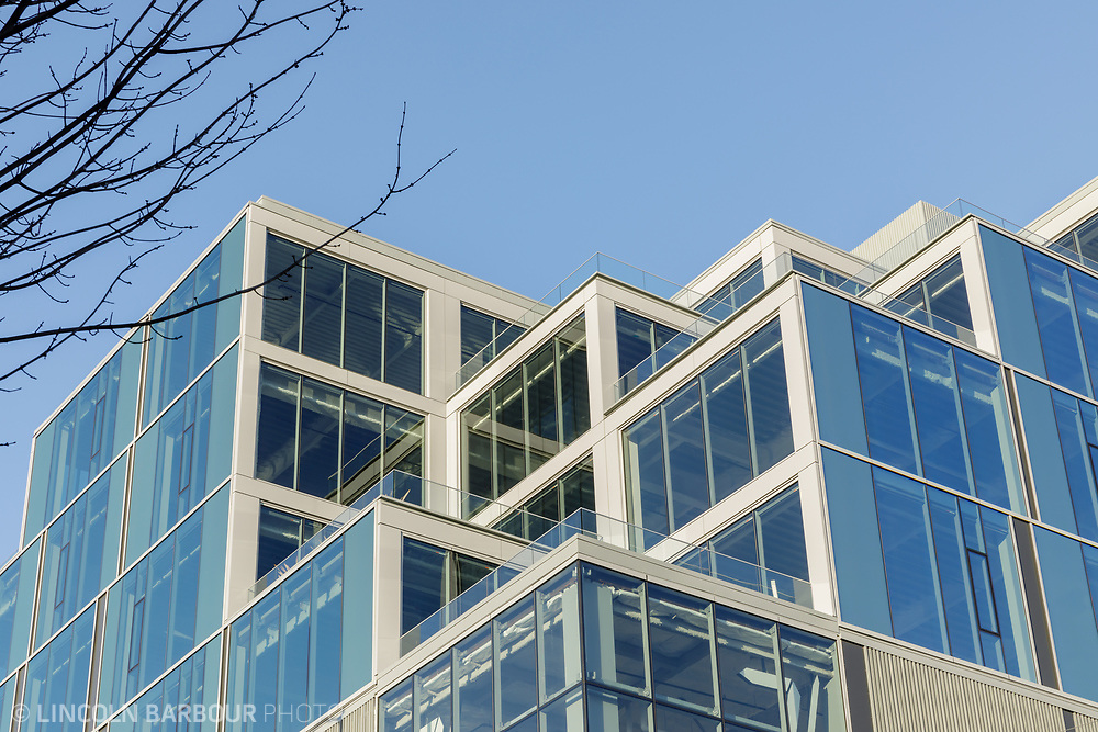 A geometric detail view looking up at the 7 Stark Building.
