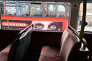 The eyes of American rocker, Alice Copper look out from the side of a London bus, an advertisement to promote his new studio album entitled Detroit Stories, on 22 February 2021, in Camberwell, south London, England.