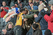 Abel Hernández (Hull City) celebrates scoring Hull's first goal during the Sky Bet Championship match between Hull City and Cardiff City at the KC Stadium, Kingston upon Hull, England on 13 January 2016. Photo by Mark P Doherty.