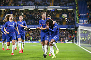 Chelsea Midfielder Willian celebrates his penalty goal 1-0 and is hit by a missile object during the The FA Cup fourth round match between Chelsea and Sheffield Wednesday at Stamford Bridge, London, England on 27 January 2019.