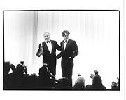 Hugh Grant and Nigel Hawthorne at awards ceremony<br />© Copyright Photograph by Dafydd Jones 66 Stockwell Park Rd. London SW9 0DA Tel 020 7733 0108 www.dafjones.com
