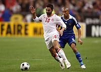 Fotball<br /> Frankrike v Tunis<br /> Foto: DPPI/Digitalsport<br /> NORWAY ONLY<br /> <br /> FOOTBALL - FRIENDLY GAMES 2008/2009 - FRANCE v TUNISIA - 14/10/2008 - FAHID BEN KHALFALLAH (TUN) / GAEL CLICHY (FRA)