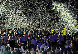 The Australian team walk out during the Opening Ceremony for the 2018 Commonwealth Games at the Carrara Stadium in the Gold Coast, Australia.