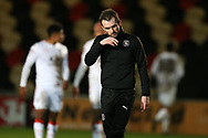 Nathan Jones, the Luton Town manager looks on at the end of the game.EFL Skybet football league two match, Newport county v Luton Town at Rodney Parade in Newport, South Wales on Tuesday 21st March 2017.<br /> pic by Andrew Orchard,  Andrew Orchard sports photography.