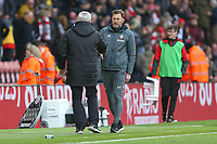 Football - 2019 / 2020 Premier League - Southampton vs. Newcastle United<br /> <br /> Southampton Manager Ralph Hasenhuttl and Newcastle United Head Coach Steve Bruce shake hands after the final whistle at St Mary's Stadium Southampton<br /> <br /> COLORSPORT/SHAUN BOGGUST