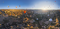 Aerial view of hot air balloons flying over Cappadocia, Turkey