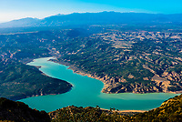 High angle view to the Negratin Reservoir from the Mirador 360 Jabalcon viewpoint on Monte Jabalcon, Granada Province, Andalusia, Spain.