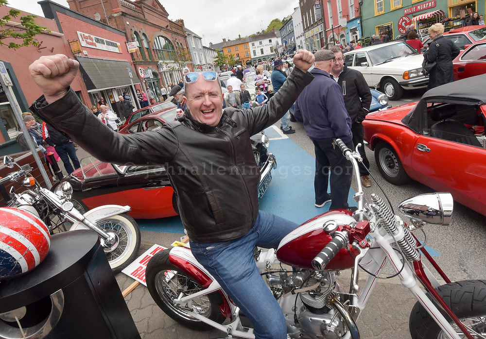 REPRO FREE<br /> DJ Anthony Collins from The White Lady pictured at the start of the Blue Haven Kinsale Vintage Rally on Saturday.<br /> Picture. John Allen<br /> <br /> Kinsale Vintage Rally Weekend 2017(May 5th- 8th) <br /> <br /> One the most exciting and spectacular weekends on the Kinsale events is The Blue Haven Kinsale Vintage Rally, taking place this weekend May 5th to 8th. With over 100 amazing Vintage cars on display in Kinsale over the weekend, it really is a fun filled family weekend worth seeing. Blue Haven Kinsale are proud sponsors and partners for over 10 years of the Kinsale Vintage Rally. The Vintage Cars were on display today Saturday 6th May outside The Blue Haven Hotel from 9.30am, with special guest from Lockdown model agency and many people who were out to see this great event which takes place once a year. It's a fantastic day for the whole family and is enjoyed by all. <br /> <br /> Now entering its 28th year, it is widely regarded as one of the premier events on the Irish classic car calendar.<br /> <br /> Following the twinning of Kinsale with the Welsh town of Mumbles in 1990, KVCMC also decided to twin with the town's own car club, The Swansea Historic Vehicle Register. Each year see's large numbers of SHVR members make the trip to Kinsale for the May rally, a gesture that is returned each July when the club makes the return trip to Swansea.<br /> <br /> Kinsale Vintage & Classic Motor Club originally established in 1988 by a group of classic car enthusiasts, the club has since grown to a current membership of over 100 members. All members share a common passion –their love of driving and preserving the classic cars. Indeed, one could ask for no better setting than the historic town of Kinsale and the surrounding beauty of the West Cork countryside.<br /> <br /> For more details please contact  cassandra@bluehavenkinsale.com or call 021-4772209 or Cathal O'Shea- Chairman KVCMC on 086-2486496