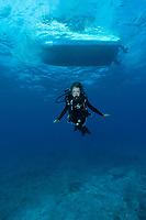 Dr. Sylvia Earle under boat dive Seychelles
