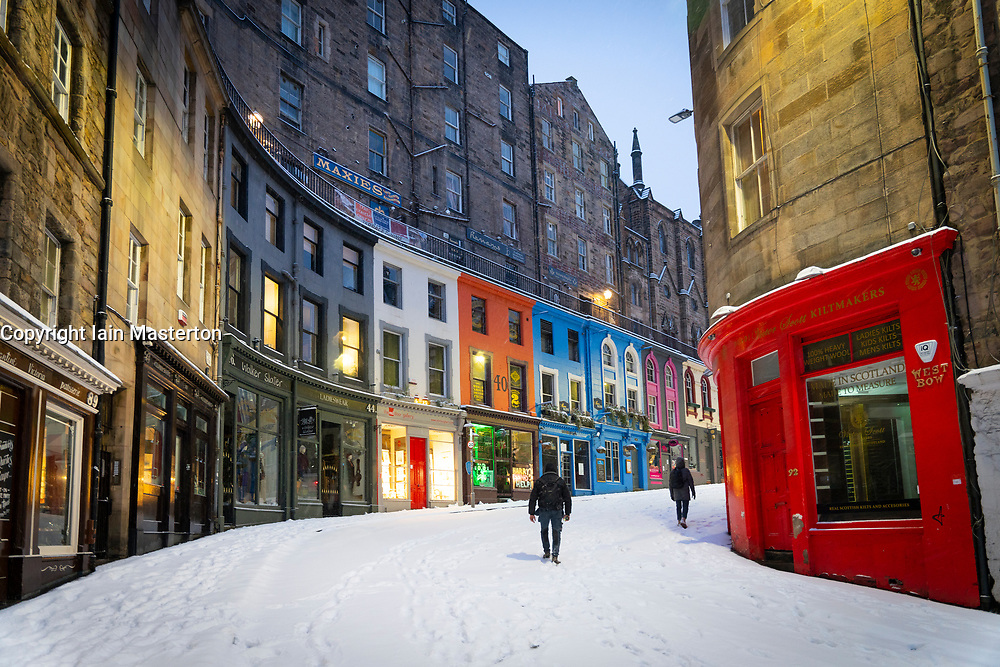 Edinburgh, Scotland, UK. 10 Feb 2021. Big freeze continues in the UK with heavy overnight and morning snow in the city. Pic; Victoria Street in the early morning.  Iain Masterton/Alamy Live news