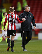 Leon Clarke of Sheffield Utd is congratulated by Chris Wilder manager of Sheffield Utd during the English League One match at Bramall Lane Stadium, Sheffield. Picture date: December 31st, 2016. Pic Simon Bellis/Sportimage