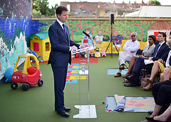 © Licensed to London News Pictures. 02/09/2013. Hammersmith, UK . The Deputy Prime Minister, Nick Clegg, gives a speech on making Britain fit for modern families, including free childcare for two-year-olds. The government's two-year-old offer starts in September (15 hours per week of free childcare for those from the 20% most disadvantaged families, based on Free School Meals criteria). The Deputy Prime Minister set out how the offer is being extended from September 2014. . Photo credit : Stephen Simpson/LNP