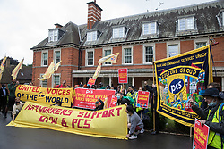 London, UK. 30th July, 2021. Royal Parks workers outsourced via French multinational VINCI Facilities attend a picket outside the Old Police House in Hyde Park as part of joint strike action by the United Voices of the World (UVW) and Public and Commercial Services (PCS) trade unions. The joint strike, with members dual carding over pay, conditions and the sacking of a member of staff, is believed to be the first between a TUC and a non-TUC trade union and follows the launch of a legal challenge by the Royal Parks workers against indirect racial discrimination by the Royal Parks.