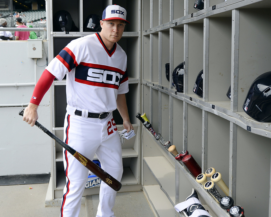 CHICAGO - APRIL 09:  Cody Asche #25 of the Chicago White Sox looks on from the dugout prior to the game against the Minnesota Twins on April 9, 2017 at Guaranteed Rate Field in Chicago, Illinois.  (Photo by Ron Vesely)   Subject:  Cody Asche
