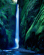 Oneonta Falls deep within Oneonta Gorge, Columbia River Goorege National Scenic Area, Mount Hood National Forest, Oregon.