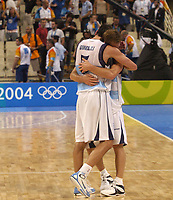 29/08/04 - ATHENS  - GREECE -  - BASKETBALL SEMIFINAL MATCH   - Indoor Olympic Stadium - <br />ARGENTINA win over ITALY and win the GOLD MEDAL<br />Argentine celebration after win the match.<br />Here EMANUEL GINOBILI with PEPE SANCHEZ after finished the match.<br />© Gabriel Piko / Argenpress.com / Piko-Press