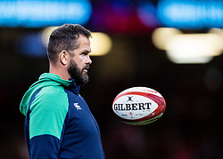 Coach Andy Farrell of Ireland during the pre match warm up<br /> <br /> Photographer Simon King/Replay Images<br /> <br /> Friendly - Wales v Ireland - Saturday 31st August 2019 - Principality Stadium - Cardiff<br /> <br /> World Copyright © Replay Images . All rights reserved. info@replayimages.co.uk - http://replayimages.co.uk
