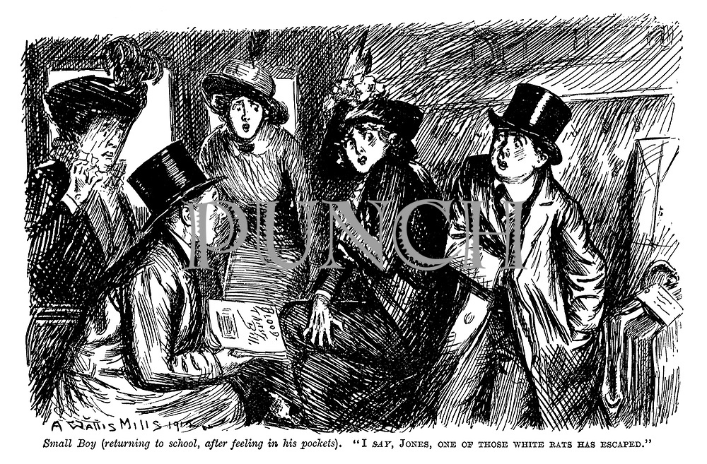 """Small boy (returning to school, after feeling in his pocket). """"I say, Jones, one of those white rats has escaped."""""""