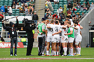 Photo by Andrew Tobin/Tobinators Ltd. The England squad half time team talk from the IRB London Rugby 7s tournament held at Twickenham Stadium, London on 12th May 2013. New Zealand won the tournament beating Australia in the final, and also won the overall 2012/13 series.