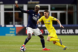 May 15, 2019 - Foxborough, MA, U.S. - FOXBOROUGH, MA - MAY 15: Chelsea FC midfielder Jorginho (5) moves in on New England Revolution midfielder Wilfried Zahibo (23) during the Final Whistle on Hate match between the New England Revolution and Chelsea Football Club on May 15, 2019, at Gillette Stadium in Foxborough, Massachusetts. (Photo by Fred Kfoury III/Icon Sportswire) (Credit Image: © Fred Kfoury Iii/Icon SMI via ZUMA Press)