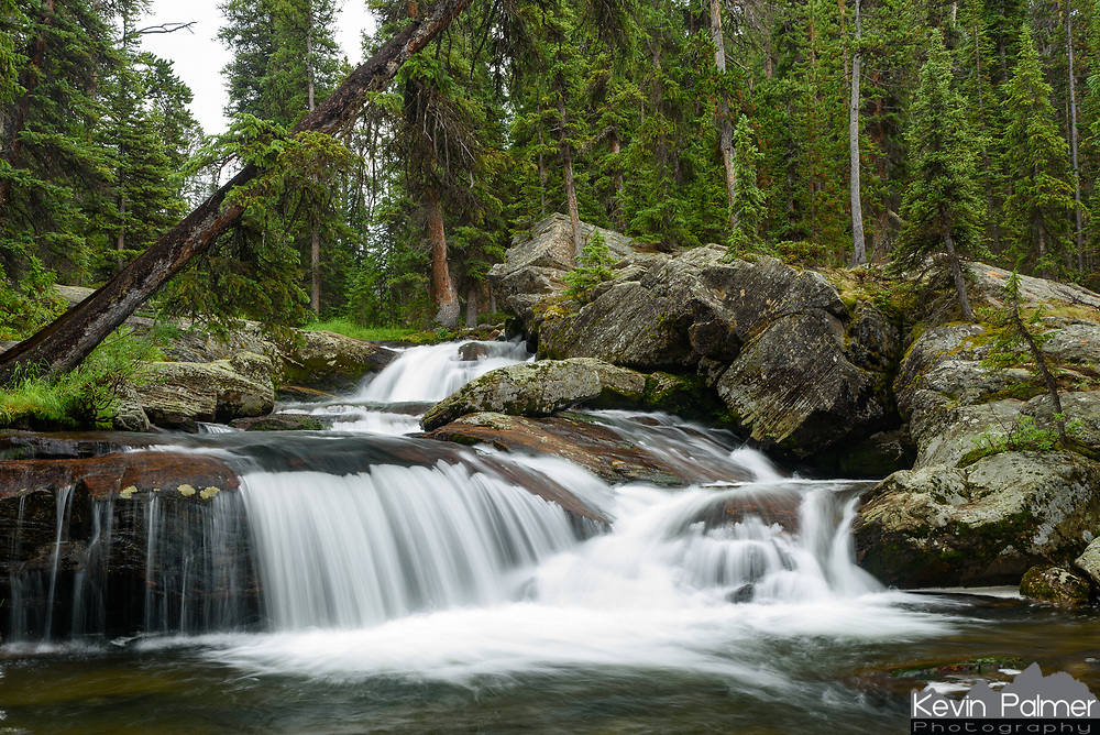 This scenic waterfall is near the beginning of the Lost Twin Lakes Trail in the Cloud Peak Wilderness.