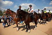 London, UK. Thursday 9th August 2012. London 2012 Olympic Games Park in Stratford. Mounted police from West Yorkshire add to the security at the park.