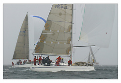 The second days racing at the Bell Lawrie Yachting Series in Tarbert Loch Fyne ...Strong winds, high seas and heavy rain dominated the day...Bavaria Match 42 Sidney GBR6942R, Bavaria Match 38 Salamander XVIII GBR3830C .
