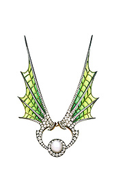lique-a-jour enamel spead over the wings with diamond borders centering a natural pearl surrounded by old cut diamond on gold by Maison Vever. Diamond tiara and convertable brooch with enameled bat wings and giant pearl