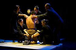 "© Copyright licensed to London News Pictures. 05/11/2010. Young Sasuke (Songha Cho) and Shun-Kin (Puppeteers Eri Fukatsu, Junko Uchida, Yasuyo Mochizuki) make love. Complicite present ""Shun-Kin"" at the Barbican, London. Directed by Simon McBurney, based on the writings of Jun'ichiro Tanizaki."