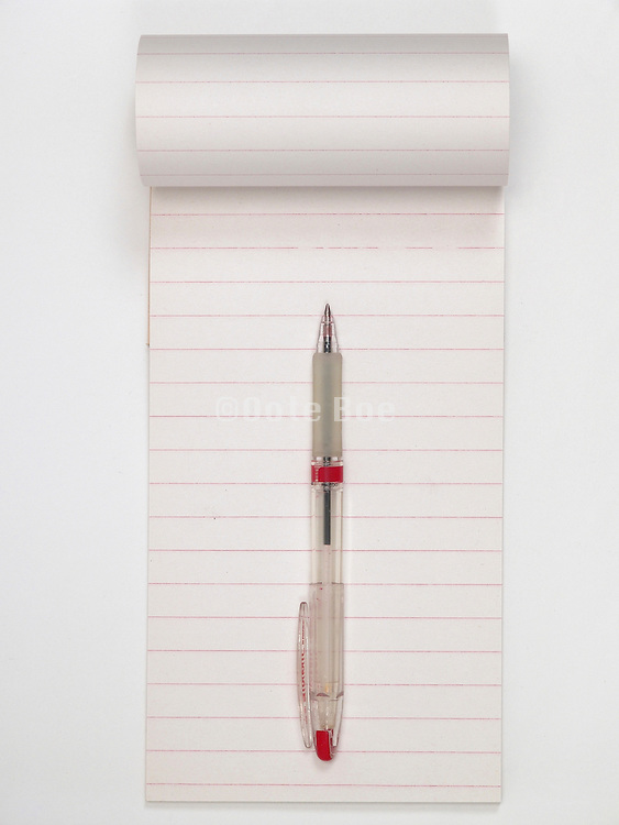 An open empty stenographers note book with a red pen.